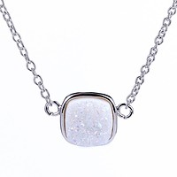 Silver Opal White Druzy Square Necklace