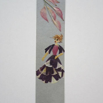 "Handmade unique bookmark ""Retrospection"" - Decorated with dried pressed flowers and herbs - Original art collage."