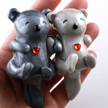 Significant Otters Holding Hands - clay sculpture animal totem - perfect I Love You gift for wedding anniversary or adorable cake topper