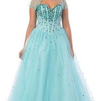 Jewelled Tulle Ball Gown Long Prom Dress w/ Bolero, M, Aqua-Teal