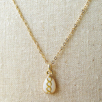Tiny Teardrop Necklace, White Teardrop Resin Necklace, Ivory Teardrop Resin Necklace, Resin Jewelry For Her