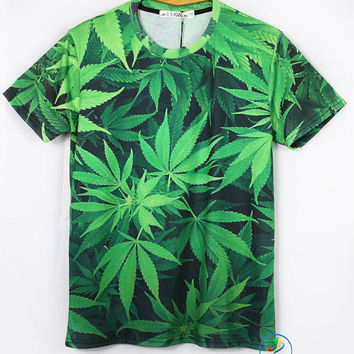 Marjuana Weed Cannabis Leaf Print Hip Hop Urban Swag Sublimation All Over Print Shirt Tee Shirt Graphic Tee Gift Idea Free Shipping USA