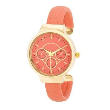 Reyna Gold Leather Cuff Watch - Coral and 3 more colors