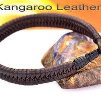 B-028 Bravo & Co. Kangaroo Leather Tigers Eye Stone Wristband Men Bracelet. - Edit Listing - Etsy