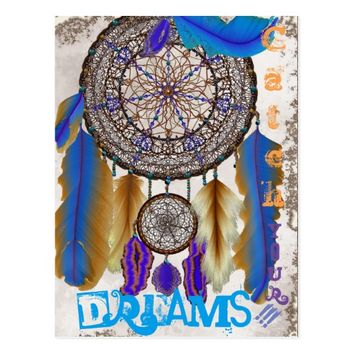 Dream catcher with a magic bird blue feathers postcard