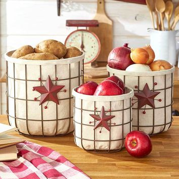 Kitchen Countertop Country Decorative Fruit Vegetable Wire Basket Storage Organizer Set