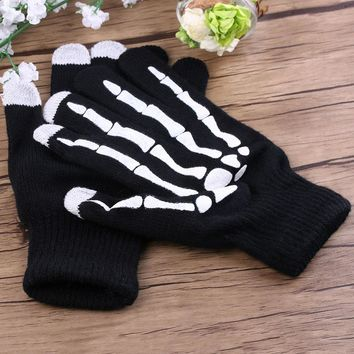 Phone Tablet Finger Tip Touch Screen Gloves Skeleton Smart Warm Winter Cotton Mitten For Men And Women Black.