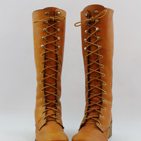 Vintage 70s Leather Lace Up Boots size 7 70s Knee High Boots Campus Boots Riding Boots Brown Leather Boots size 7 Knee Boots