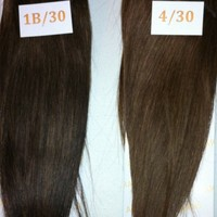 "14"" Remy 100% Human Hair Clip On In Extension 4"" Wide Piece Color 1B/30 Off-Black/Medium Auburn"