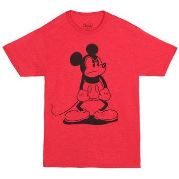 Mickey Mouse Standing Mad Disney Licensed Adult Unisex T-Shirt - Red - S