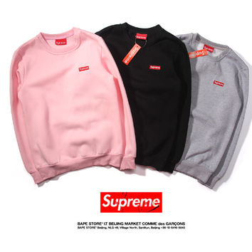 """Supreme"" Fashion Casual Simple Male Female Small Letter Embroidery Long Sleeve Loose Student Couple Cotton Sweater"