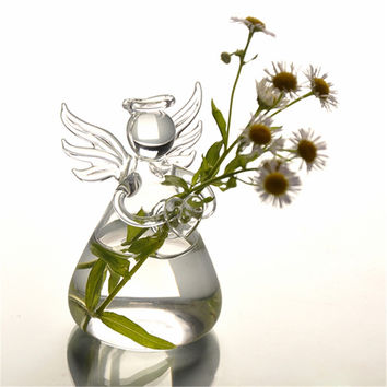 2016 Hot New Cute Glass Angel Shape Flower Plant Stand Hanging Vase Hydroponic Container Home Office Decor