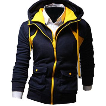 Autumn Winter New Men's Hoodies Fashion Casual Sweatshirts Slim Fit Zip Up Men Hoodie Jackets Fleece Warm Clothes Hoody Male Top