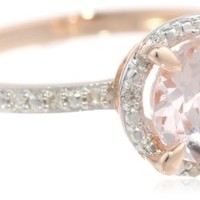 10k Rose Gold Morganite and Diamond Round Shaped Ring (0.05 Cttw, G-H Color, I1-I2 Clarity), Size 8