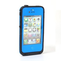 Multi Colour new Waterproof Shockproof Heavy duty Dirtproof Protection Full Body Skin Pouch Case Cover Bumper for iPhone 4 4G 4S (deep blue)