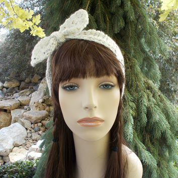 Ivory Tweed Headband Crochet Headband