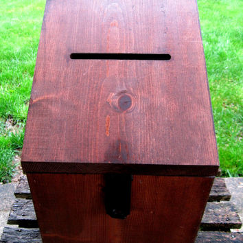 Large Wedding Card Box Wood With Slot Locking Rustic