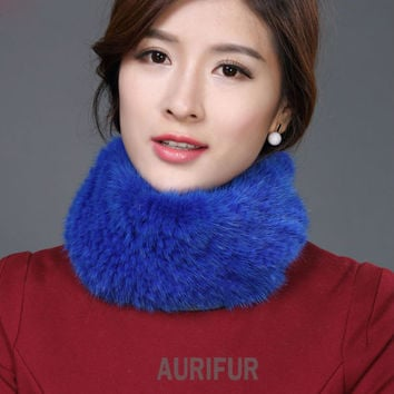 2016 New Womens Real Knitted Mink Muffler Ladies Natural Mink Fur Scarf Winter Solid Neckerchief AU00863