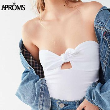 Aproms Bow Tie Front Tube Top Women Candy Color Stretch Basic Tank Tops Cool Girls Street Fashion Strapless Bra Tee Camis 2018
