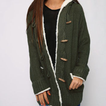 Army Green Horn-Button Hooded Sweater