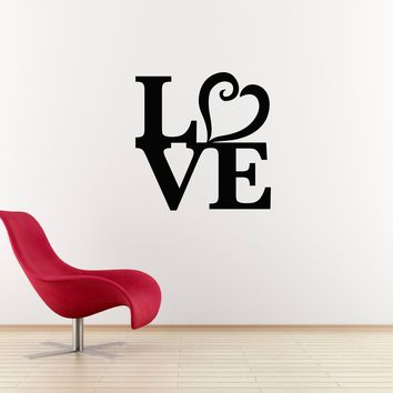 Love Wall Decal - Heart Wall Art - Wall Sticker - Large