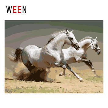 WEEN White Horses Running Diy Painting By Numbers Animal Oil Painting On Canvas Cuadros Decoracion Acrylic Wall Art Home Decor