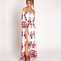 new women casual print loose maxi bohemia split dress off the shoulder high waist vintage beach party dresses lady clothing