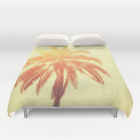 Golden Palm - Duvet Cover, Red & Orange Tropical Palm Tree Decor, Ombre Style Beach Surf Boho Chic Bedding Throw. In Twin Full Queen King