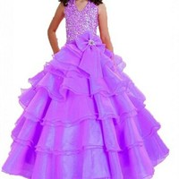BFB Purple Wedding Flower Girl Dress Formal Occasion Dress Party Girl Dress
