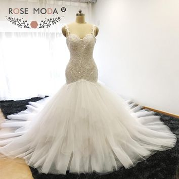 Rose Moda Ivory over Champagne Backless Lace Mermaid Wedding Dress Royal Train Wedding Gown 2017 Custom Made