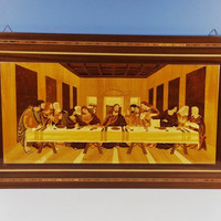 Vintage Italian Inlaid Wood The Last Supper Wall Hanging Notturno Intarsio Sorrento Italy Marquetry Large Wall Hanging Religious Decor