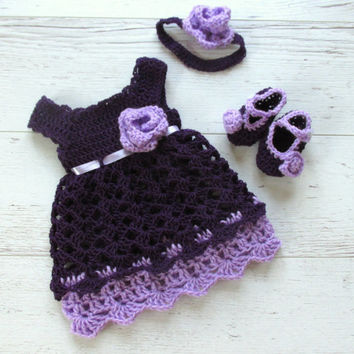 Crochet baby outfit Purple lavender baby dress crochet baby dress crochet baby booties crochet  headband Baby Dress crochet newborn dress