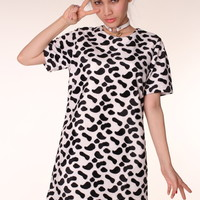 Glitters For Dinner — Made To Order - Brooklyn Tee Dress in Black & White Animal Print