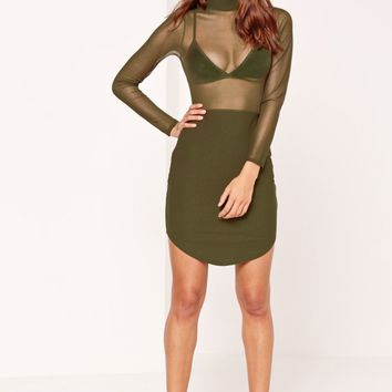 Missguided - Mesh Top Split Hem Bodycon Dress Khaki