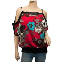 Plus Size Sheer Floral Print Off Shoulder Top