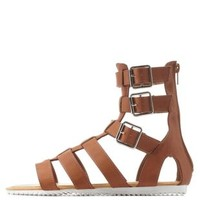 Tan Bamboo Buckled Flat Gladiator Sandals