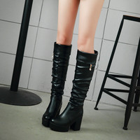 Black and White Knee High Boots High Heels Women Shoes 8902