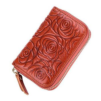 COOLSOME Womens Floral Rose Leather Credit Card Holder RFID Security Small Wallet