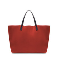 COLORED LEATHER SHOPPER