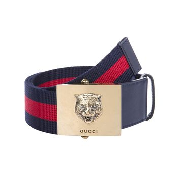 Gucci Men's Web Stripe Lion Buckle Belt 437498 Size: 90/36