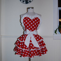 Red and White Polka Dot 3 Tier Circle Skirt Valentine Pinup Hostess Apron