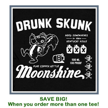 Awesome Moonshine T Shirt Drunk Skunk Kentucky Tee by Shirtmandude