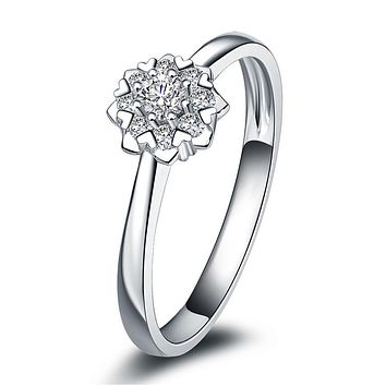 ANI 18K White Gold (AU750) Wedding Ring 0.2 CT Certified I/SI Diamond Flower Shape Heart Prong Bridal Band for Lovers Engagement