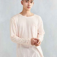 Feathers Oil Wash Curved Hem Long-Sleeve Tee