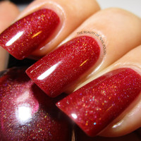 LAST BATCH Poison Apple - Marsala Red Holographic Nail Polish