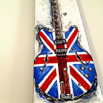 Union Jack Guitar painting Gift for musician Original red and blue painting on 12'' x 4'' canvas by Magier