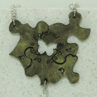 Friendship  Puzzle Piece Necklaces or Key chains Set of 3 Leather Pendants Gold  Forever a piece of me Made To Order