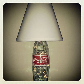 The Fizzy: Glass Coke Bottle Lamp with Battery-Powered LED Lights