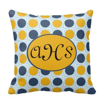 Blue Yellow Polka Dots on Blue Monogram Pillow