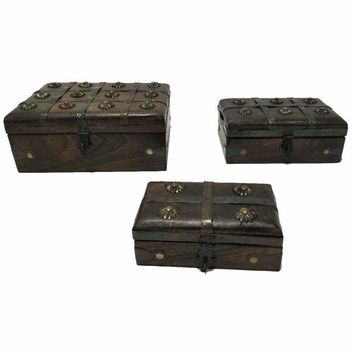 Nested Wooden Pirate Chest With Traditional Metal Locks, Set of 3, Brown